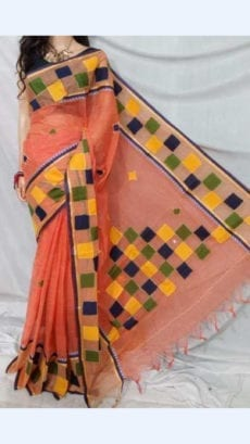 Peach Colour cotton saree with Mutli-Colour Applique work-yespoho