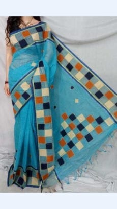 Light Blue Colour cotton saree with Mutli-Colour Applique work-yespoho