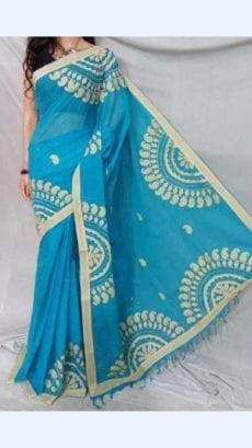 Light Blue Colour cotton saree with off white Applique work-yespoho