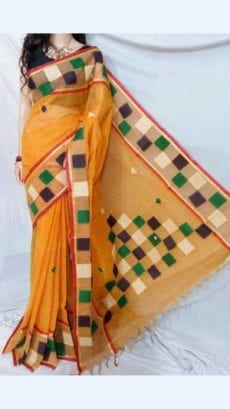 Yellow Colour cotton saree with mutli-colour Applique work-yespoho