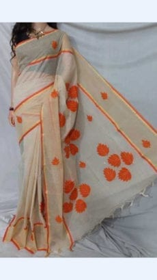 Off White Colour cotton saree with orange Applique work-yespoho
