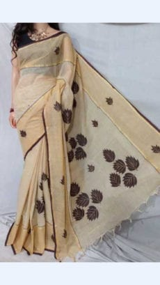 Cream Colour cotton saree with Brown Applique work-yespoho