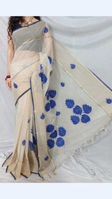 White cotton saree with Blue Applique work-yespoho