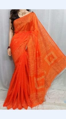 Dark Orange Silk Cotton Saree