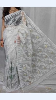White colour Dhakai Jhamdani saree-yespoho