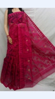 Dark Pink colour Dhakai Jhamdani saree-yespoho