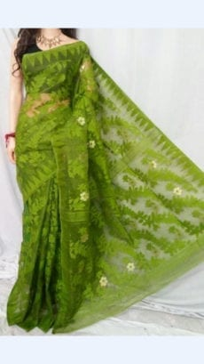 Dark Green colour Dhakai Jhamdani saree-yespoho