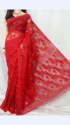 Red colour Dhakai Jhamdani saree-yespoho