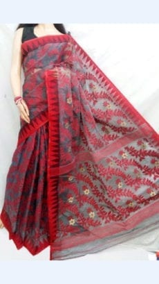 Grey colour Dhakai Jhamdani saree with Red  colour Design-yespoho