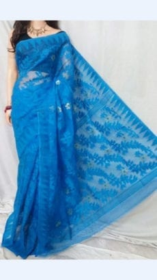 Light Blue colour Dhakai Jhamdani saree-yespoho