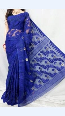 Dark Blue colour Dhakai Jhamdani saree-yespoho
