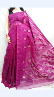 Fancy Pink color Dhakai Jhamdani saree | Yespoho-yespoho