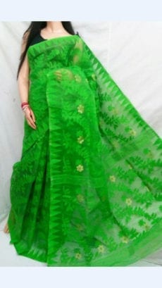 Green colour Dhakai Jhamdani saree-yespoho