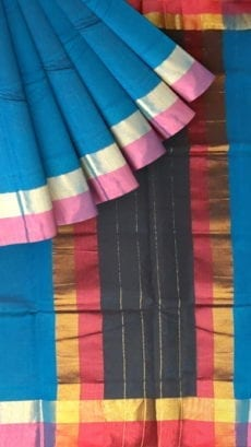 Azure Blue Cotton Saree with Pink and Golden Border-yespoho