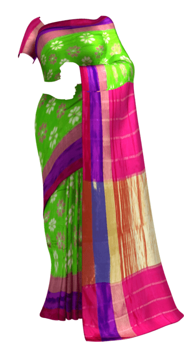 ikat flower design with tissue border Happy Holidays Sale Saree20 Thanksgiving Year End Dhamaka New Arrivals Ikkat Sarees