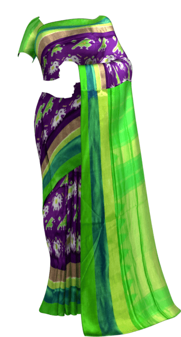 ikat brinjal color body with elephant and sparrow design and light green border Happy Holidays Sale Saree20 Thanksgiving Year End Dhamaka New Arrivals Ikkat Sarees