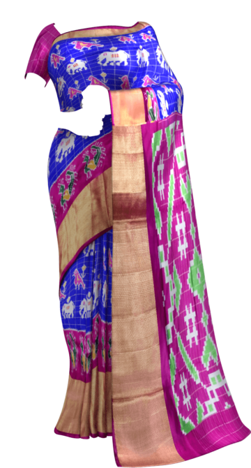 ikat  small jari checks parrot blue with elephant and sparowdesign and pink color pallu with kaddi border New Arrivals Ikkat Sarees