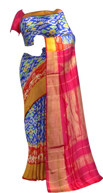 ikat panpotola design with blue body and pink elephant and tissue border New Arrivals Ikkat Sarees