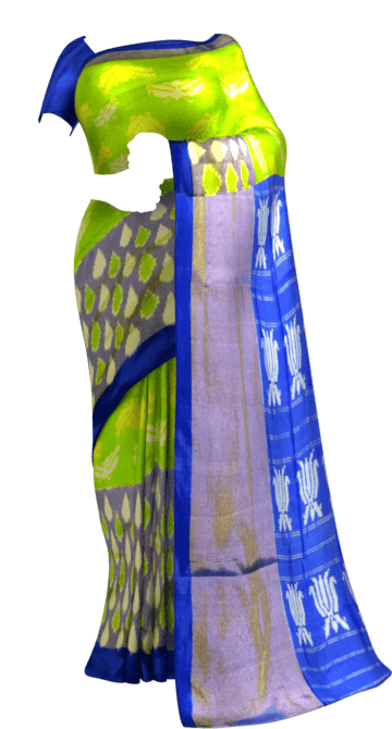 ikat parrot green body with allover flowers blue color half tisuue saree Winter Sale New Arrivals Ikkat Sarees