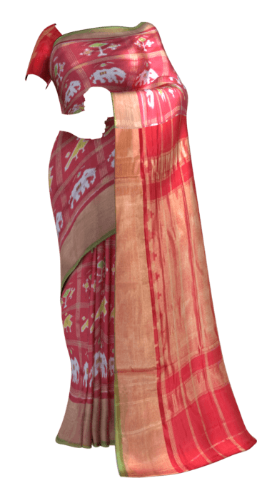 ikat panchpatti saree allover design with orange/ red color Aashadam Sale New Arrivals Ikkat Sarees