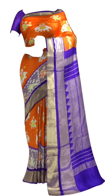 ikat special kaddi border saree with elephant and sparrow design Saree20 Ikkat Sarees