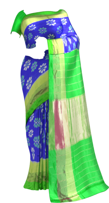ikat blue color body allover flower design with tissue border Saree20 Ikkat Sarees