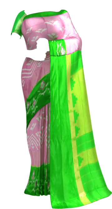 ikat baby pink body with allover flower design and green designed border Diwali Sale New Arrivals Ikkat Sarees