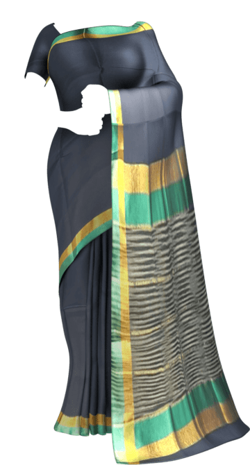 Shop Space Blue Cotton Saree with Light Jade Green and Golden Border Online