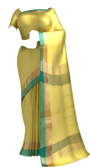 Shop Royal Yellow Cotton Saree with Light Jade Green and Golden Border Online
