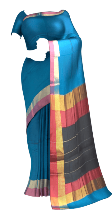 Shop Azure Blue Cotton Saree with Pink and Golden Border Online