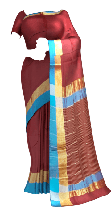 Shop Maroon Cotton Saree with Azure Blue and Golden Border Online