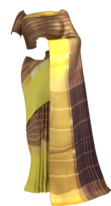 Shop Golden-striped Brown Cotton Saree with Royal Yellow and Golden Border Online