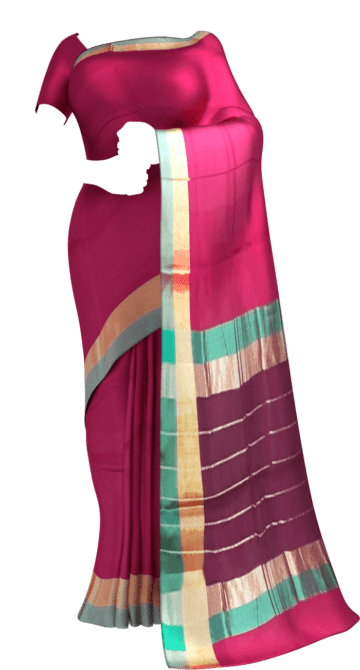 Shop Cercise Pink Cotton Saree with Light Grey and Golden Border Online