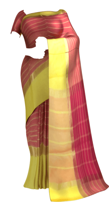 Shop Striped Raspberry Red Cotton Saree with Royal Yellow and Golden Border Online