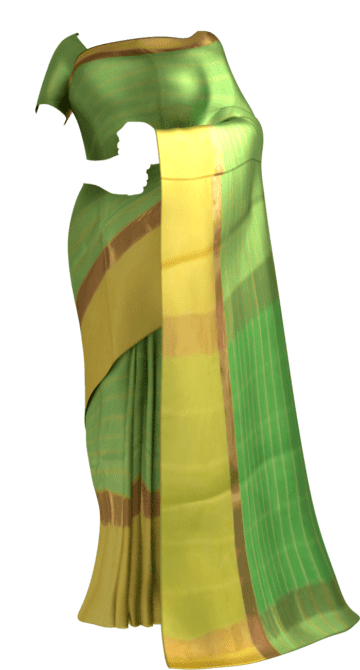 Shop Striped Moss Green Cotton Saree with Royal Yellow and Golden Border Online