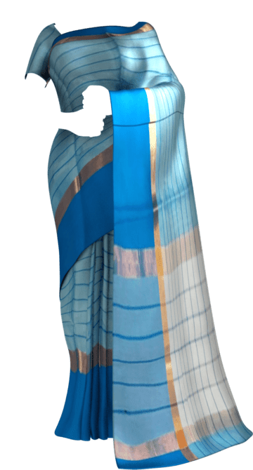 Shop Striped Cornflower Blue Cotton Saree with Azure Blue and Golden Border Online