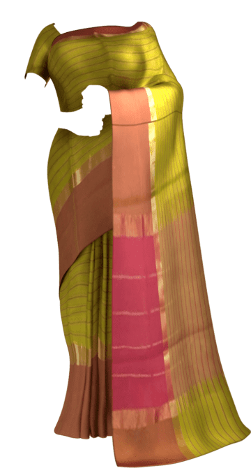 Shop Striped Olive Green Cotton Saree with Rust Red and Golden Border Online