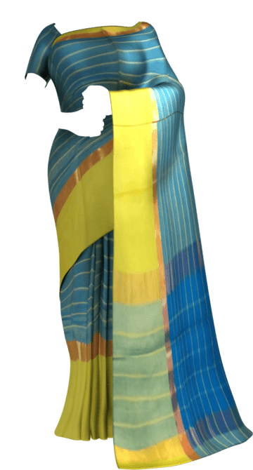 Shop Striped Bright Blue Cotton Saree with Greenish Yellow and Golden Border Online