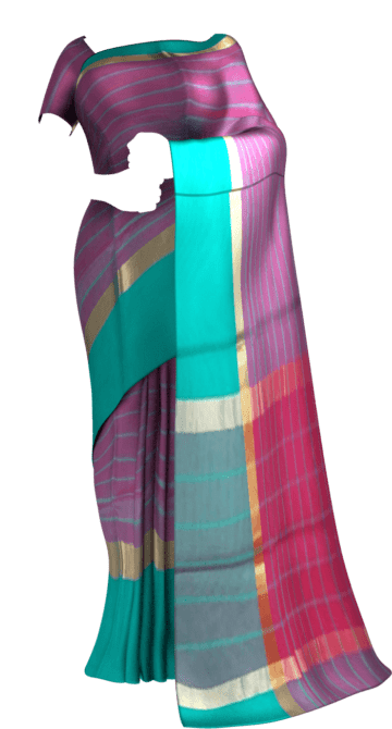 Shop Striped Eggplant Purple Cotton Saree with Turquoise Blue and Golden Border Online