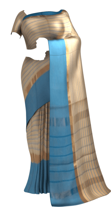 Shop Striped Light Peach Cotton Saree with Bright Blue and Golden Border Online