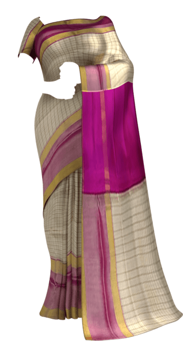 Shop Magenta and Off white Uppada Mahanti saree with zari Online