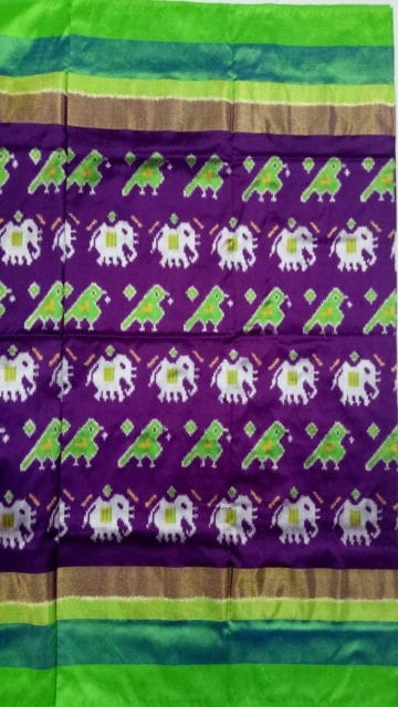Yespoho ikat brinjal color body with elephant and sparrow design and light green border