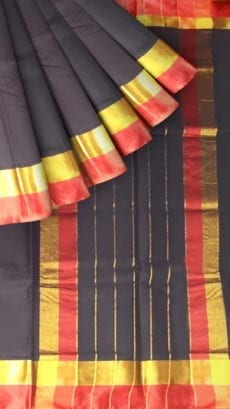 Coal Black Cotton Saree with Red and Golden Border-yespoho