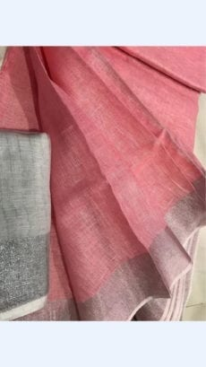 Coral Peach Linen Saree
