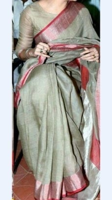 Linen Saree with Plain Pallu