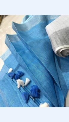 Azure Blue Linen Saree with silver border