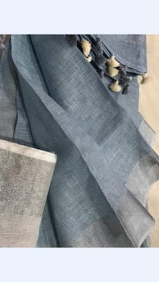 Plain patterned Bluish Grey Linen Saree