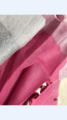 Dark Pink Linen Saree with silver border on a Semi-Contrast-yespoho