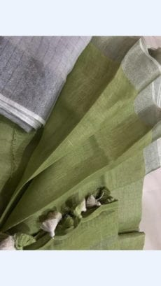 Mehandi Green Linen Saree with Plain Pallu perfect for occassion-yespoho