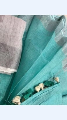 Plain patterned Sea Green Linen Saree coupled with Plain Pallu-yespoho